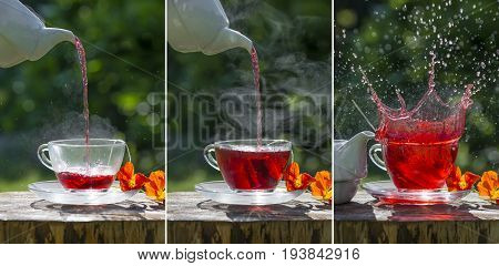 fruity tea on the garden table - sequence