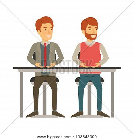 white background with men sitting in desk one with casual clothes and beard and the other with formal suit and necktie vector illustration