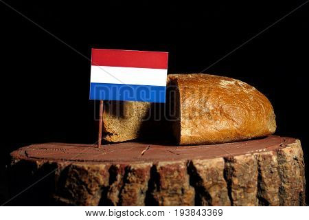 Dutch Flag On A Stump With Bread Isolated