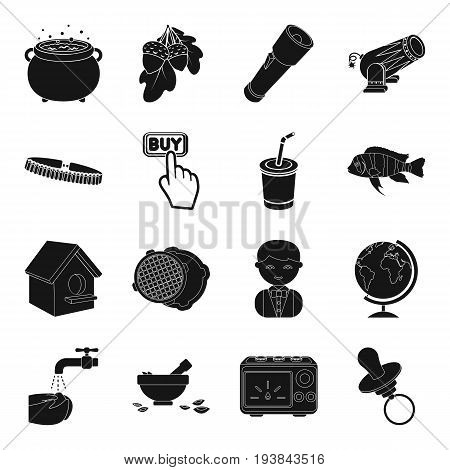 toy, magic, weapons and other  icon in black style. plumbing, hygiene, equipment