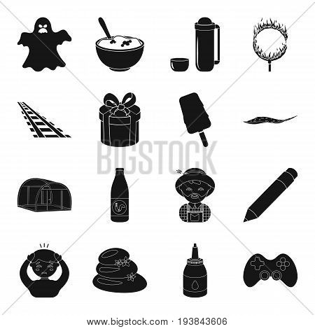 game, magic, illness and other  icon in black style. plumbing, transport, dessert