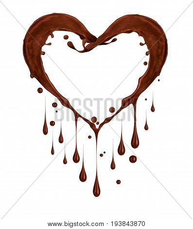 Splashes of chocolate in the shape of heart with drops on white background