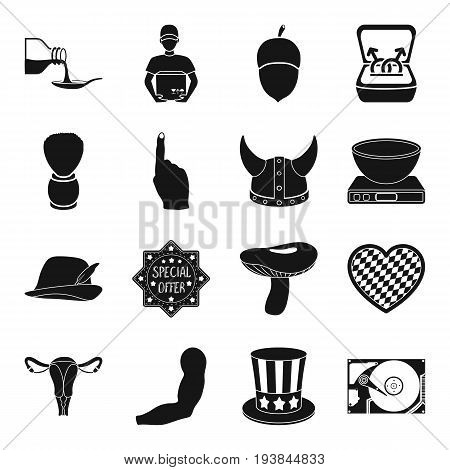 computer, logistics, Canada and other  icon in black style. hairdresser, medicine, gay