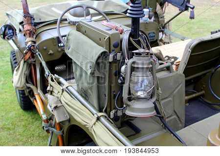 Sandhurst, Uk - June 18 2017: Oil Lamp And Other Equipment On A Ww2 Us Army Willys Jeep