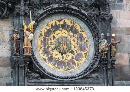 Detail of the Prague Astronomical Clock Orloj in the Old Town of Prague Czech Republic.