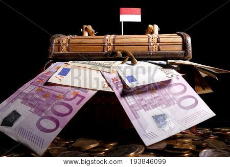 Indonesian Flag On Top Of Crate Full Of Money