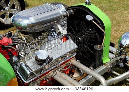 Sandhurst, Uk - June 18 2017: Engine Of A Custom