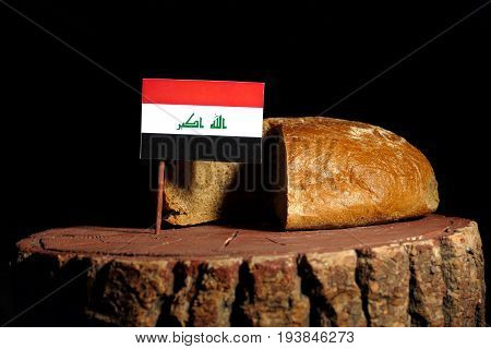 Iraqi Flag On A Stump With Bread Isolated