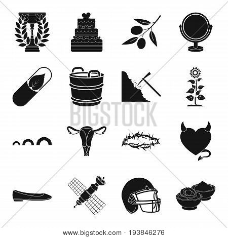 food, sport, dessert and other  icon in black style.organ, person icons in set collection.