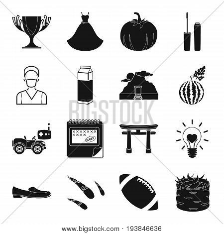food, entertainment, wedding and other  icon in black style. farm, sport, astronomy icons in set collection.