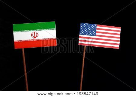 Iranian Flag With Usa Flag Isolated On Black Background
