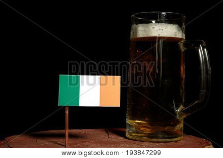 Irish Flag With Beer Mug Isolated On Black Background