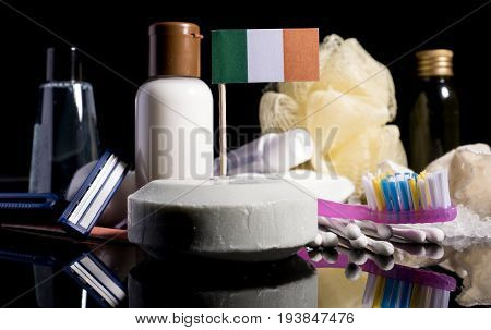 Irish Flag In The Soap With All The Products For The People Hygiene