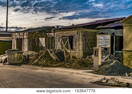 GUAYAQUIL, ECUADOR, JULY - 2016 - Night scene of under construction condominium houses at Guayaquil outskirts Ecuador