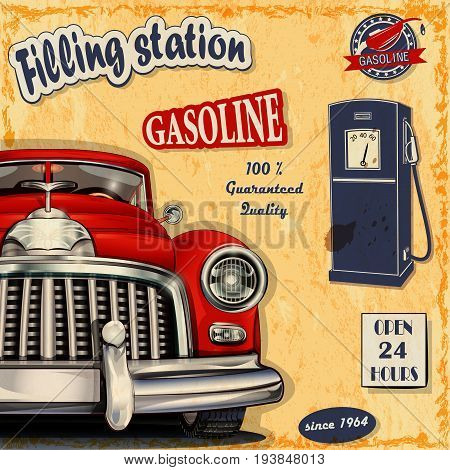 Filling station gasoline open 24 hours retro poster