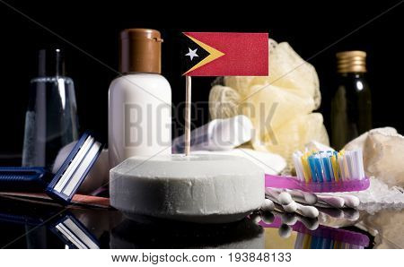 East Timor Flag In The Soap With All The Products For The People Hygiene