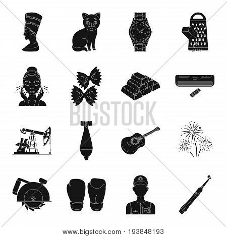 dentistry, sport, tool, party and other  icon in black style.weapon, office, america, pizza