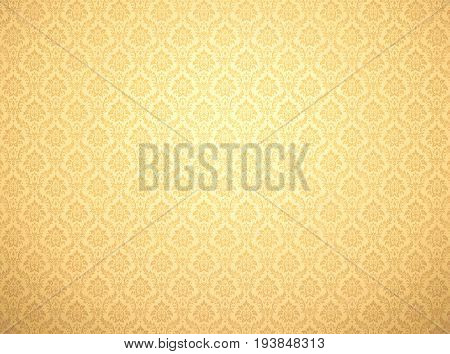 Golden damask wallpaper with royal floral patterns