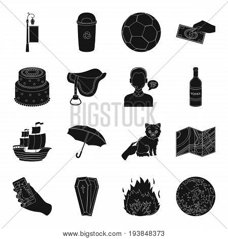 topography, travel, alcohol, dessertand other  icon in black style. advertising, ecology, sport, business, profession