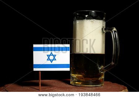 Israeli Flag With Beer Mug Isolated On Black Background
