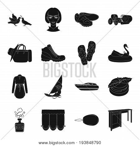 table, sports, wedding and other  icon in black style.travel, transport, atelier icons in set collection.