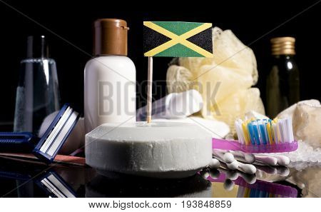 Jamaican Flag In The Soap With All The Products For The People Hygiene