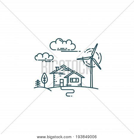 Flat line concept with house, trees, wind generator turbines and clouds.
