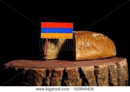 Armenian Flag On A Stump With Bread Isolated