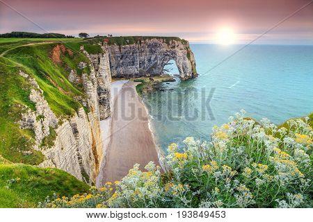 Amazing cliffs Aval of Etretat and beautiful famous coastlineNormandyFranceEurope