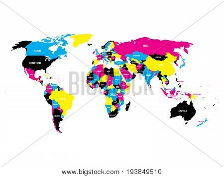 Political map of World in CMYK colors with country name labels. Isolated on white background. Vector illustration.