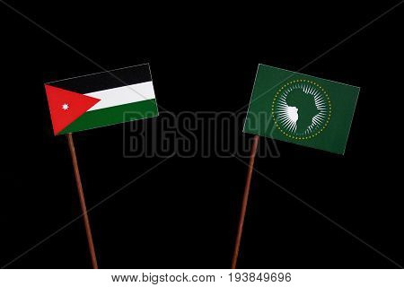 Jordanian Flag With African Union Flag Isolated On Black Background