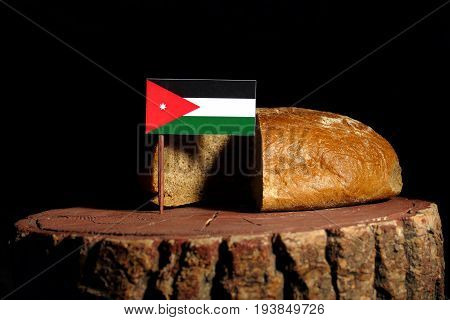 Jordanian Flag On A Stump With Bread Isolated