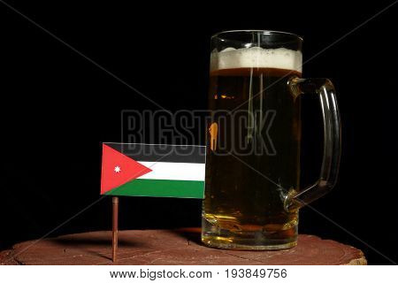 Jordanian Flag With Beer Mug Isolated On Black Background