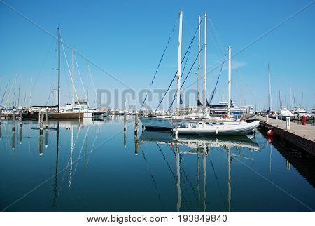 White yachts in the port waiting. Misano Adriatico Emilia Romagna Italy