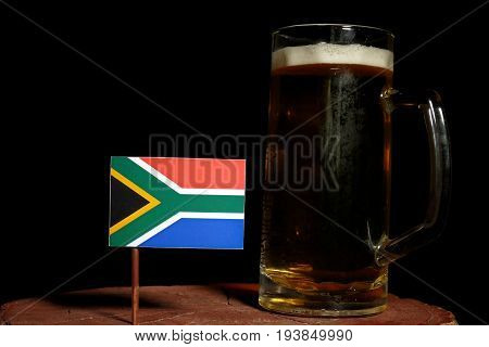 South African Flag With Beer Mug Isolated On Black Background
