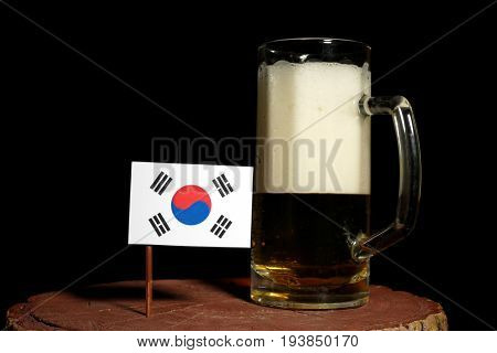 South Korean Flag With Beer Mug Isolated On Black Background
