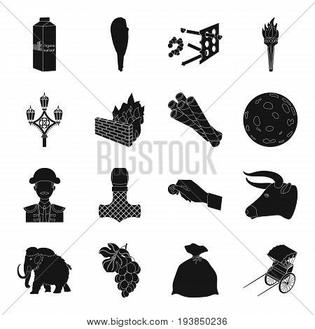 , transport, parking, dessert and other  icon in black style.hedge, antiquity, product, animal icons in set collection