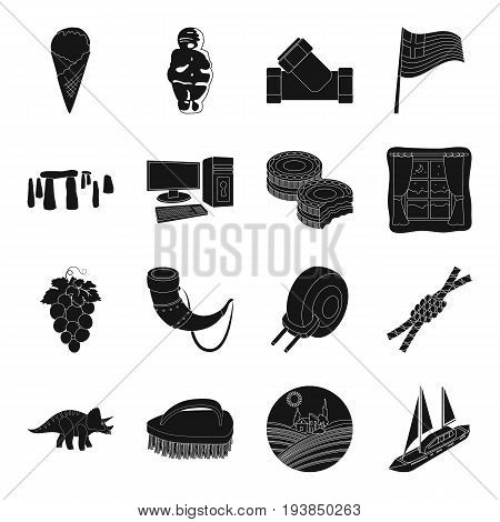 parking, food, England, antiquity and other  icon in black style.milk, product, interesting icons in set collection.