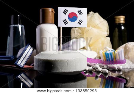 South Korean Flag In The Soap With All The Products For The People Hygiene