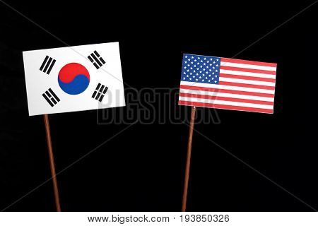 South Korean Flag With Usa Flag Isolated On Black Background