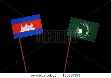 Cambodian Flag With African Union Flag Isolated On Black Background