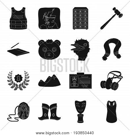 crime, Mongolia, animal and other  icon in black style.territory, computer, Mine, justice icons in set collection.