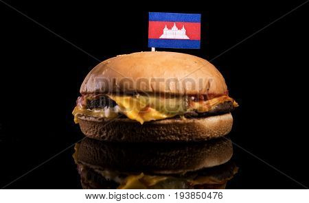 Cambodian Flag On Top Of Hamburger Isolated On Black Background