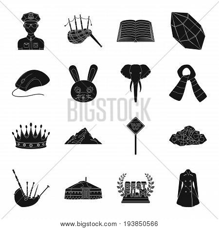 clothing, animal, mine and other  icon in black style.profession, parking icons in set collection.