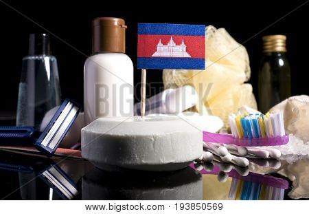 Cambodian Flag In The Soap With All The Products For The People Hygiene