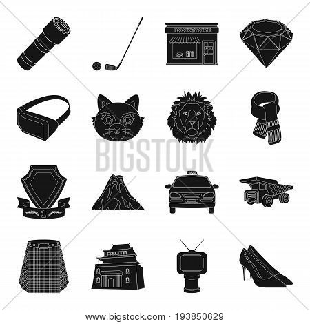 clothes, mine, mining and other  icon in black style.parking, computer, animal, police icons in set collection.