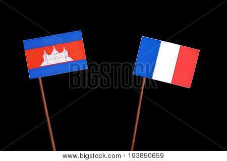 Cambodian Flag With French Flag Isolated On Black Background