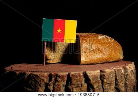 Cameroon Flag On A Stump With Bread Isolated