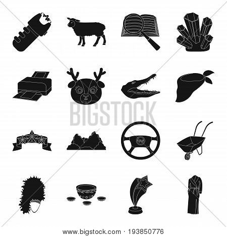 film, instrument, cars, taxi and other  icon in black style.animal, computer, police icons in set collection.