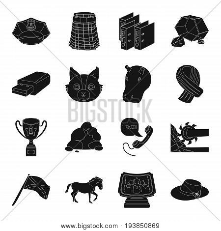 clothing, industry, animals and other  icon in black style.mineral, computer, police icons in set collection.